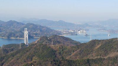 尾道市向島、高見山展望台から臨む尾道水道
